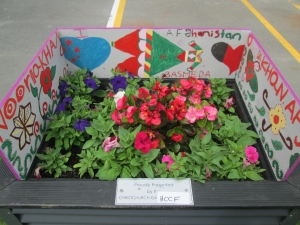2014 Festival of Flowers planter box with artwork by Hagley Community College students.